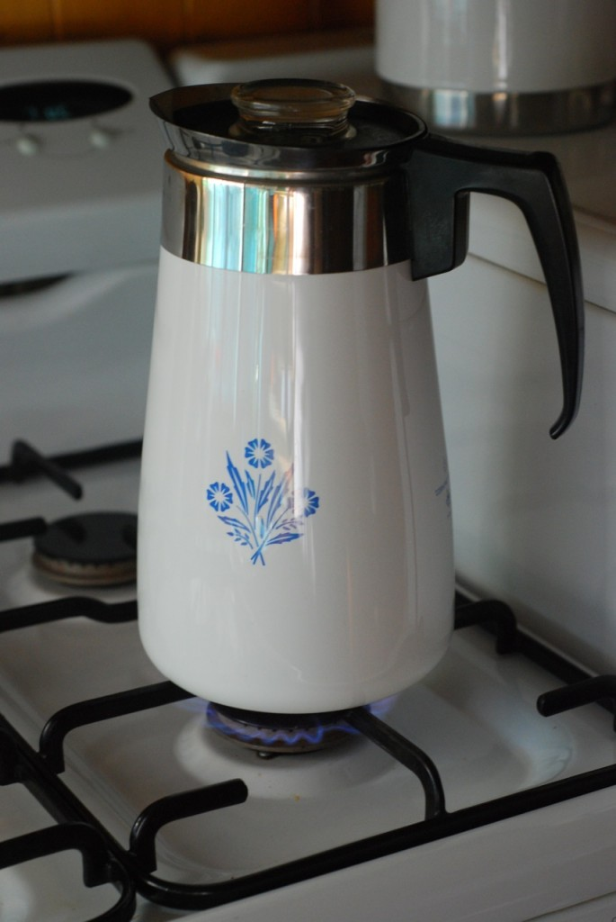 [ vintage stove top coffee percolator - thrifted from Lifeline - bubbling