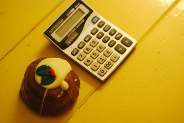 calculator and christmas pudding