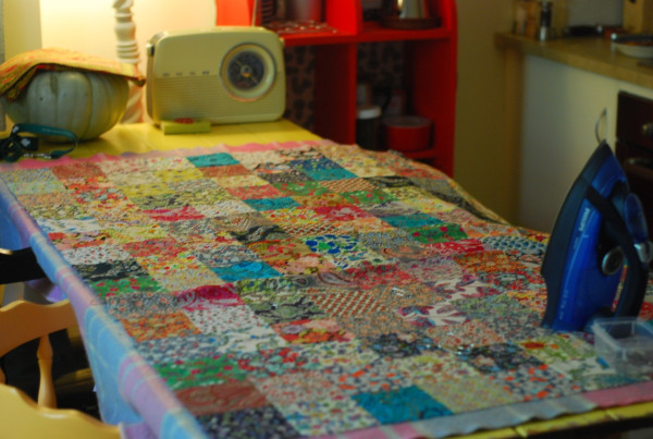quilt on table