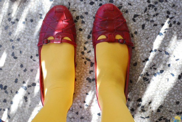 yellow tights and red shoes