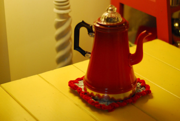steaming coffee pot