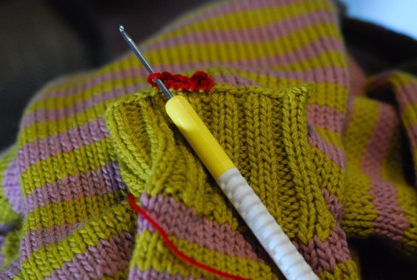 crocheting the cuffs