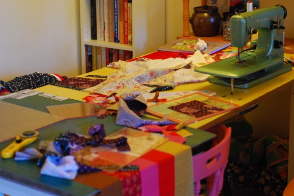 untidy kitchen table