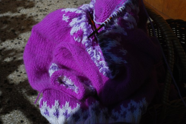 purple knitting